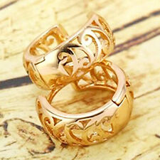 Dainty 9K Real Yellow Gold Filled Openwork Womens Huggie Hoop Earrings,Z5148