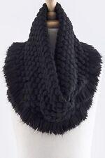 B9 Soft Bubble Texture Black Fringe Infinity Cowl Scarf