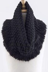 Soft Bubble Texture Black Fringe Infinity Cowl Scarf B9