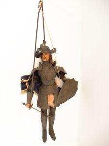 Sehr schöne, alte Marionette, Ritter, Don Quixotte? 72 cm