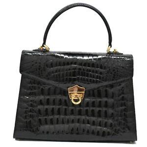 Genuine Crocodile Leather Top Handle Satchel Flap Hand Bag Purse Black Gold