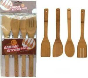 Pack of 4 Assorted Bamboo Spoons Wooden Spatula Kitchen Tool Utensils Set Turner