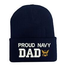 PROUD US NAVY DAD LONG BEANIE CAP HAT ***PROUD NAVY DAD*** BLUE