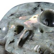 "5.91"" Natural Labradorite Carved Smiling Skull,Collectibles 22Q85"
