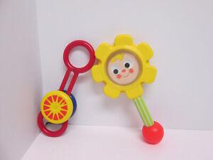 Vintage Fisher Price Johnson & Johnson Baby Rattles Yellow Flower Red Spinner