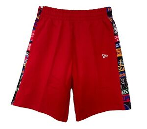 New Era Men's NBA All Logos All Over Print Panel Shorts pockets Red Sporty New