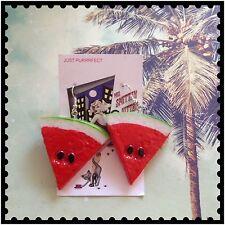 Watermelon Slice Earrings  Fruit Kitsch Tropical FREE POSTAGE