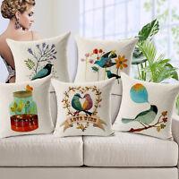 Bird&Tree Cotton Linen Throw Pillow Case Sofa Decor Cushion Cover Home Decor