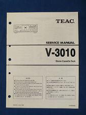 TEAC V-3010 CASSETTE SERVICE MANUAL ORIGINAL FACTORY ISSUE GOOD CONDITION