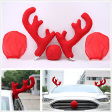 5 Pcs Red Car Christmas Decoration Reindeer Antlers Nose Rearview Mirror Covers