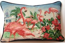 Pink Flaingos - House, Beach, Pink Hibiscus By Bradley Clark Tapestry Pillow New