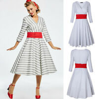 Women Hepburn Vintage 50s Striped Rockabilly Swing Pinup Cocktail Dress W/ Belt