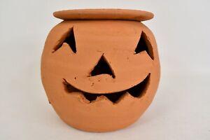 Terra Cotta Ceramic Jack-O-Lantern Pumpkin Candle Holder 7 In Pot W/Plant Insert