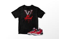 VL Drip T-Shirt to Match Air Jordan 3 Unite Red Cement All Sizes 100% Cotton