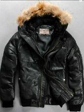 Men's Genuine Bomber Sheepskin Leather Hoodie Down Jacket  XL