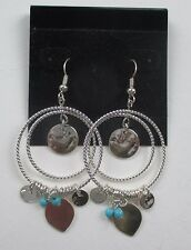 cc silver tone double hoop turquoise Earrings claire's jewelry mary kate ashley