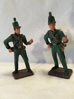 2 Old Lead Military Soldiers   Toy Soldiers in Green Uniform Knapsacks Swords
