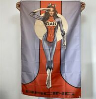 Gulf Gasoline Banner Racing Pin Up Girl Tapestry Gas & Oil Flag Poster Sign 3x5