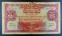1939 French Syria - Banque de Syrie et du Liban 25 Livres Banknote, P-43b.