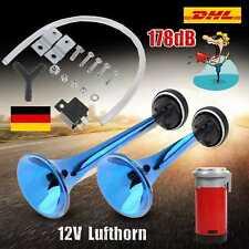 12V Fanfare Druckluft 178db 2-Hupe Lufthorn mit Kompressor Horn für Auto PKW LKW