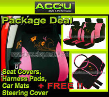 13 Pcs Pink Black Flower Design Car Seat Covers+Mats+Steering Wheel Cover Deal