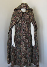 Vintage 70's Cape Boho Hippie Tapestry Fabric & Hooded By QUEEN OF CAPES