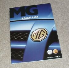 MG Price List 2004 - ZR 160 1.8 VVC - ZS 180 2.5 V6 - ZT ZT-T 260 4.6 V8 TF 160