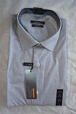 New $59.50 MARK ANTHONY Men No Iron Slim Blk/Wht Dress Shirt Size: 17  32/33