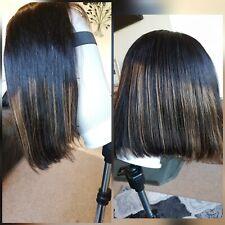 """12"""" 100%  Human Hair  Bob Wig  4x4 Lace Closure"""