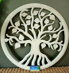 Wooden Tree Of Life Wall Sculpture Whitewash 60cm Diameter NEW