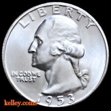 1953-D 25C Washington Silver Quarter BU
