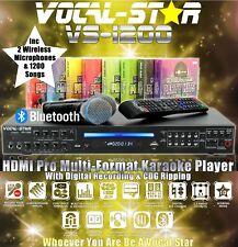 VOCAL-STAR VS-1200 PRO HDMI KARAOKE MACHINE 2 VHF WIRELESS MICS & 1500 SONGS