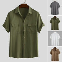 Vintage Men's Casual Cotton Linen Shirts Cargo Pockets Loose Fit Shirt Tops Tee