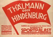 RED FLAG COMMUNIST RALLY German Interwar Communist Propaganda Poster