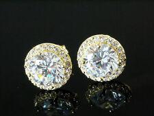585 Gold Ohrstecker grosse runde 9,5 mm 1 Paar,  mit 50 Zirkonia Steinen