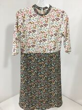 ASOS WOMEN'S CONTRASTING FLORAL HIGH NECK ELBOW SLEEVE DRESS MULTI UK:6/US:2 NWT
