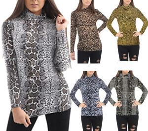 High Womens Ladies Leopard Print Long Sleeve Turtle Polo Neck Tshirt Top UK 8-26