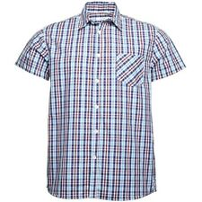 Onfire Mens Checked Short Sleeve Shirt Royal/Turquoise/Burgundy/White Size 2XL