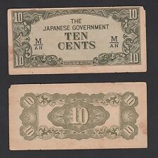 Malaya Japanese Occupation 10 Cents (1942) SHIFT UP - EF