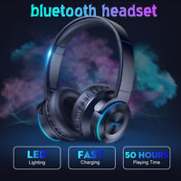 LED Wireless bluetooth Headphone Foldable Stereo Earphone Super Bass Headset Mic