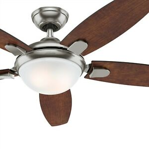 Hunter Fan 54 inch Contemporary Brushed Nickel Ceiling Fan with Light and Remote