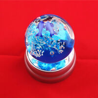 2.16'' Blue Sea coral Art Glass Ball noctilucence Paperweight With Base B02