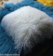 "Handmade Mongolian Fur 20""x20"" Square White Pillowcase & fabric back US stock"