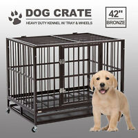 """42"""" Dog Crate Kennel Heavy Duty Pet Cage Playpen W/Tray & Wheels Portable Bronze"""