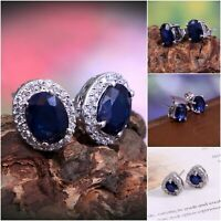 Natural Blue Sapphire Halo Stud Earrings 925 Sterling Silver Dainty Gift for Her