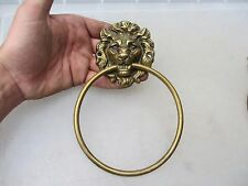 Vintage Brass Lion Head Loop Handle Pull Architectural Antique Old Hardware Tie