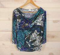 Chico's Sz 2 Women's L Knit Top Draped Neck Ruched Sides 3/4 Sleeve Paisley Blue