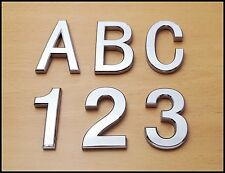 Self Adhesive 3D Chrome Letters Numbers Silver House Door Car Badge 7cm CURVED