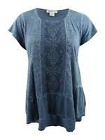 Style & Co. Women's Plus Size Embroidered Tiered Top (0X, New Uniform Blue)
