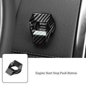 Car Carbon Fiber Engine Car Accessories Start Stop Push Button Switch Cover Trim